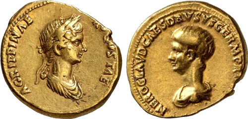 agrippina junior roman coin aureus