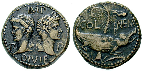 augustus and agrippa roman coin as