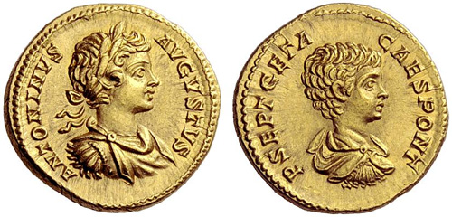 caracalla and geta roman coin aureus