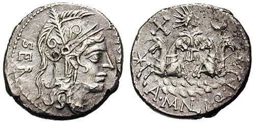 manlia roman coin denarius