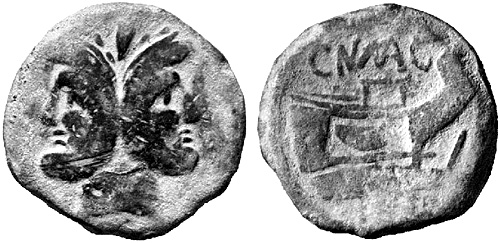 pompeia roman coin as
