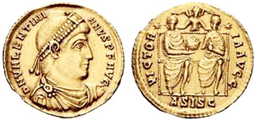 valentinian ist roman coin solidus