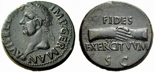 vitellius roman coin as
